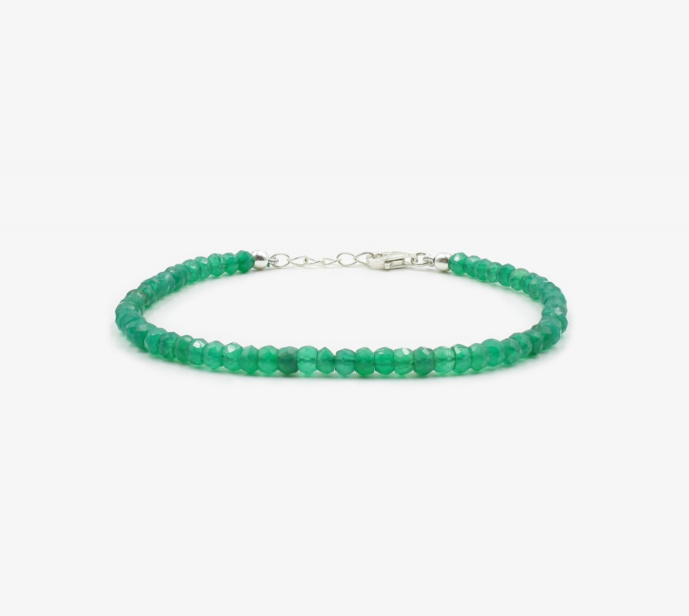 Ónix verde facetado pulsera