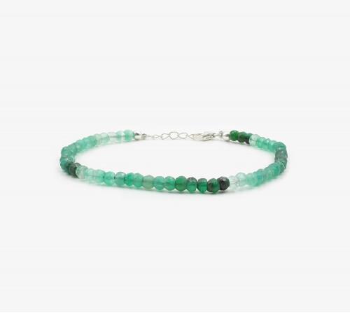 Ónix verde claroscuro facetado pulsera